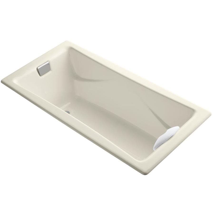 KOHLER Tea-For-Two Almond Cast Iron Rectangular Drop-in Bathtub with Reversible Drain (Common: 36-in x 72-in; Actual: 20.88-in x 36-in x 71.75-in)