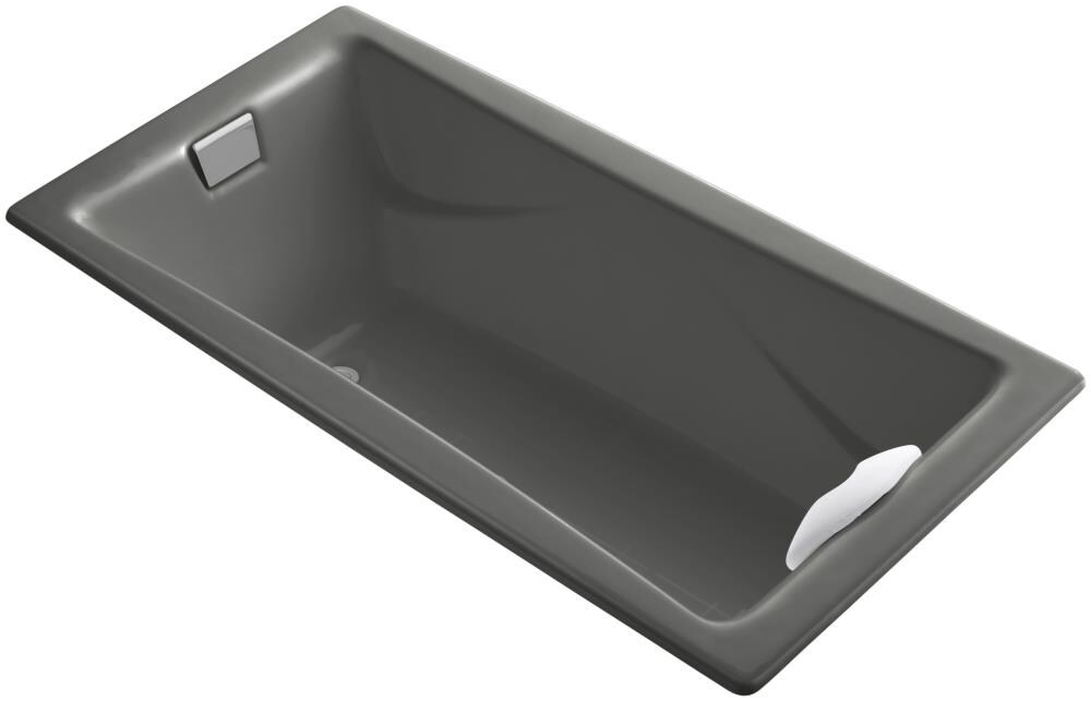 KOHLER Tea-for-Two 71.75-in Thunder Grey Cast Iron Drop-In Bathtub with Reversible Drain