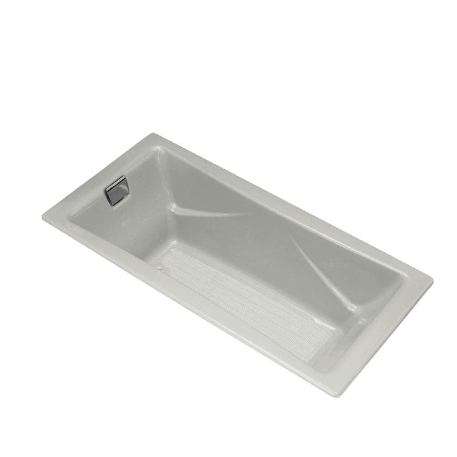 KOHLER Tea-For-Two Ice Grey Cast Iron Rectangular Drop-in Bathtub with Reversible Drain (Common: 36-in x 72-in; Actual: 20.88-in x 36-in x 71.75-in)