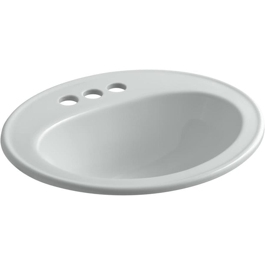 Grey Bathroom Sink : KOHLER Pennington Ice Grey Drop-in Oval Bathroom Sink with Overflow