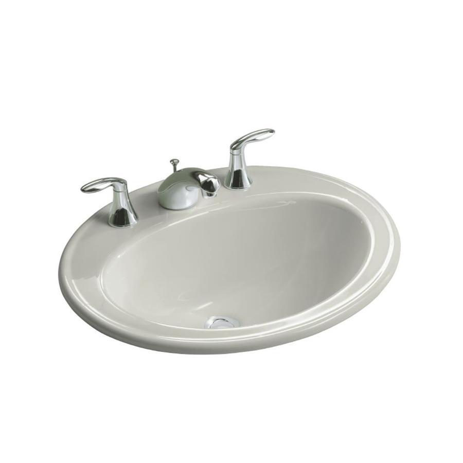 oval bathroom sinks drop in shop kohler pennington grey drop in oval bathroom sink 23895