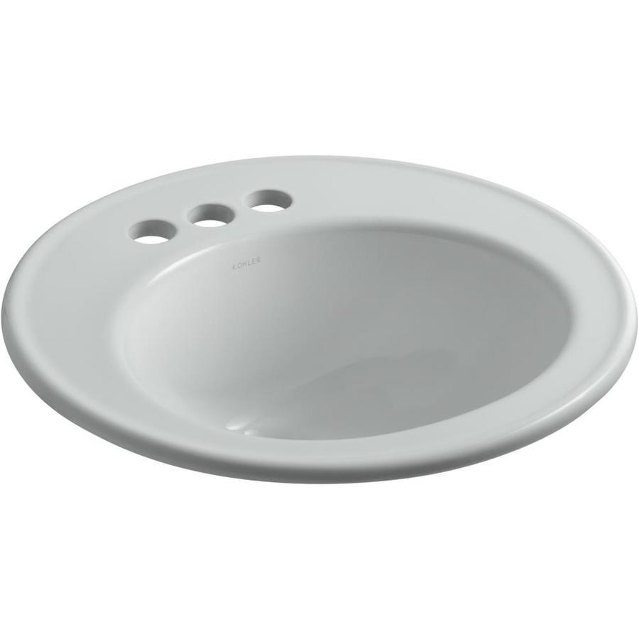 Shop kohler brookline ice grey drop in round bathroom sink for Kohler round bathroom sinks