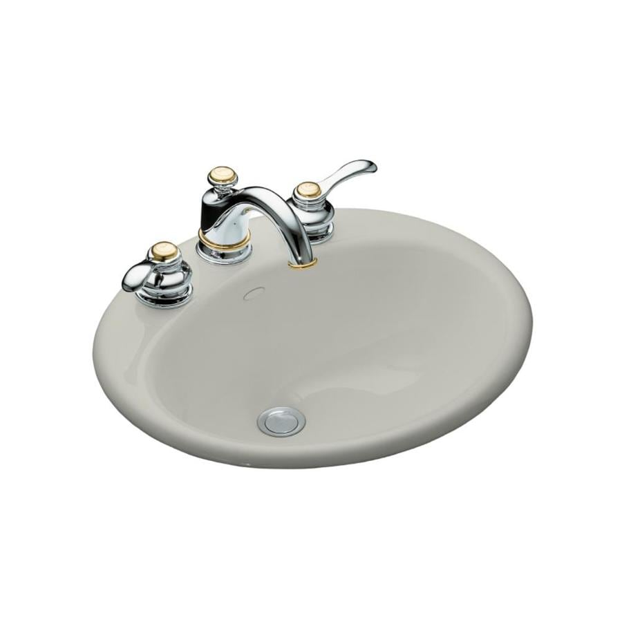 KOHLER Farmington Ice Grey Cast Iron Drop-in Oval Bathroom Sink with Overflow