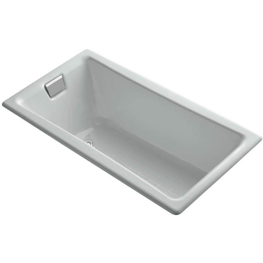 KOHLER Tea-for-Two 60-in Ice Grey Cast Iron Drop-In Bathtub with Reversible Drain