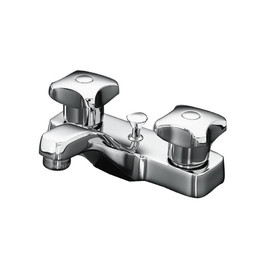 Shop KOHLER Triton Polished Chrome 2-Handle 4-in Centerset ...