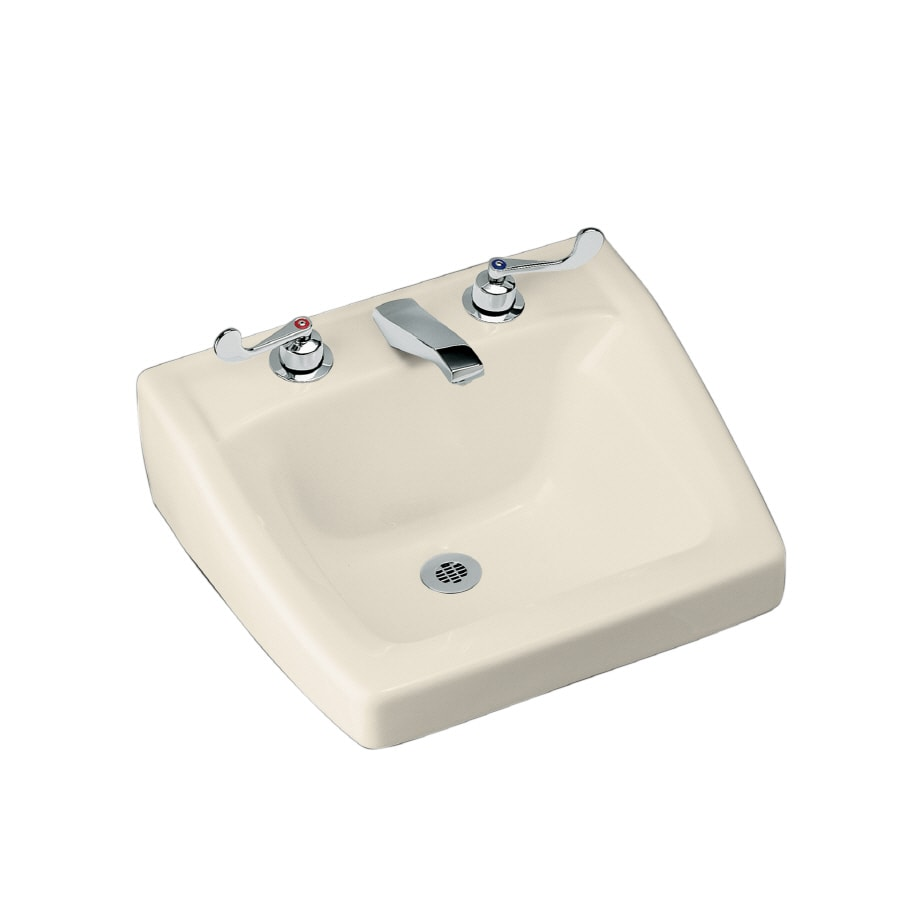 kohler wall mount bathroom sink shop kohler chesapeake almond wall mount rectangular 23590
