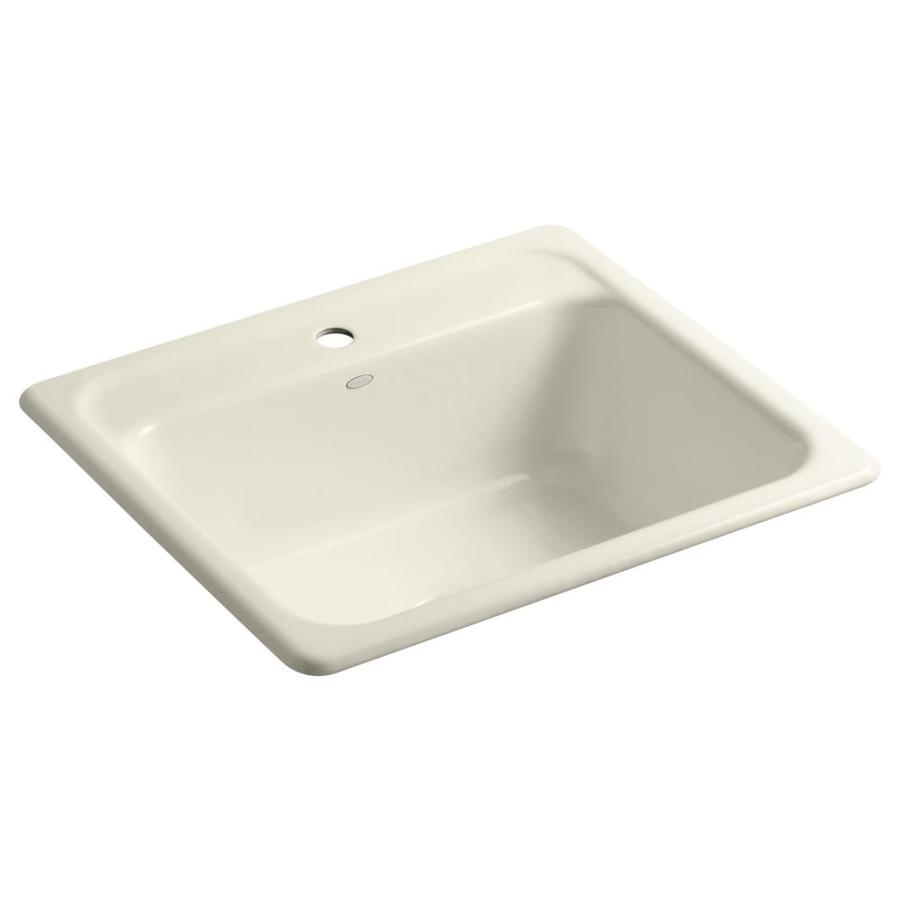 KOHLER Mayfield 22-in x 25-in Almond Single-Basin-Basin Cast Iron Drop-in 1-Hole Residential Kitchen Sink