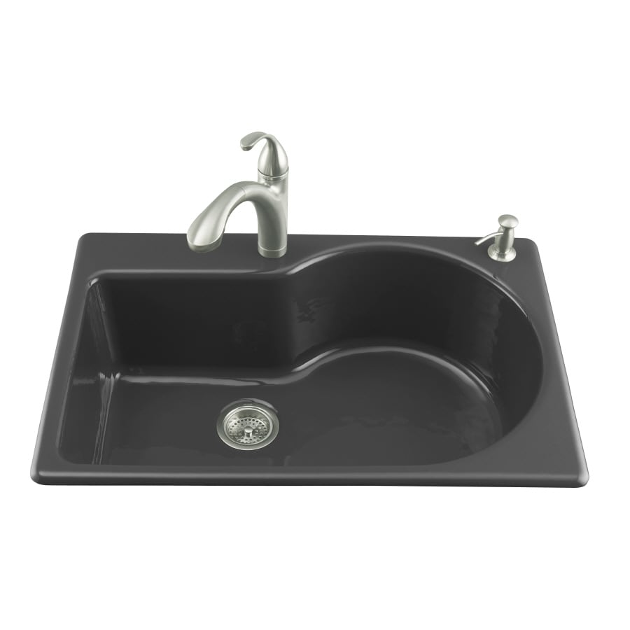 KOHLER Entree 22-in x 33-in Black Black Single-Basin Cast Iron Drop-in 2-Hole Commercial/Residential Kitchen Sink