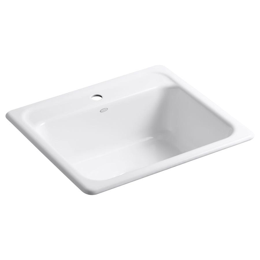 KOHLER Mayfield 22 In X 25 In White Single Basin Cast Iron Drop