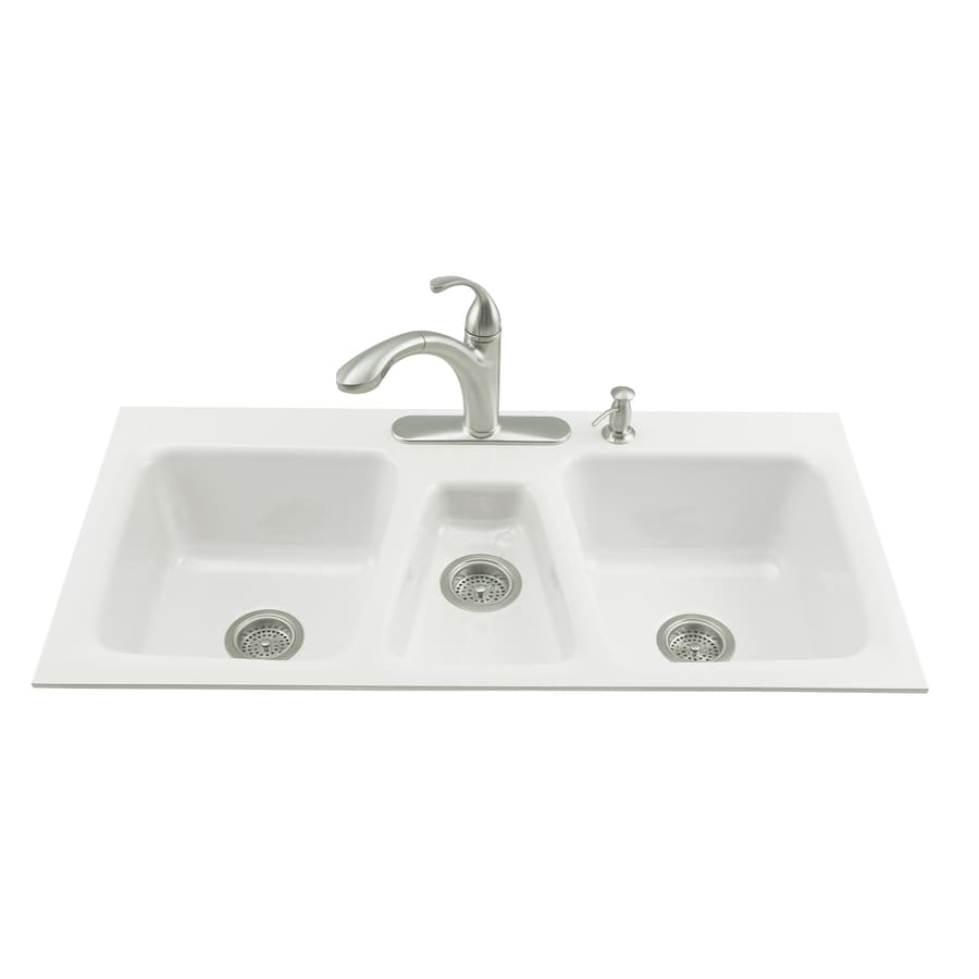 kohler trieste 22 in x 43 in white triple basin cast iron tile shop kohler trieste 22 in x 43 in white triple basin cast iron      rh   lowes com