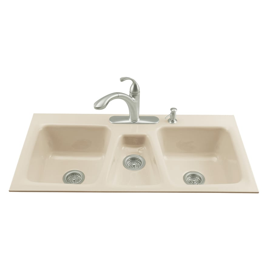 KOHLER Trieste Triple Basin Tile In Enameled Cast Iron Kitchen Sink