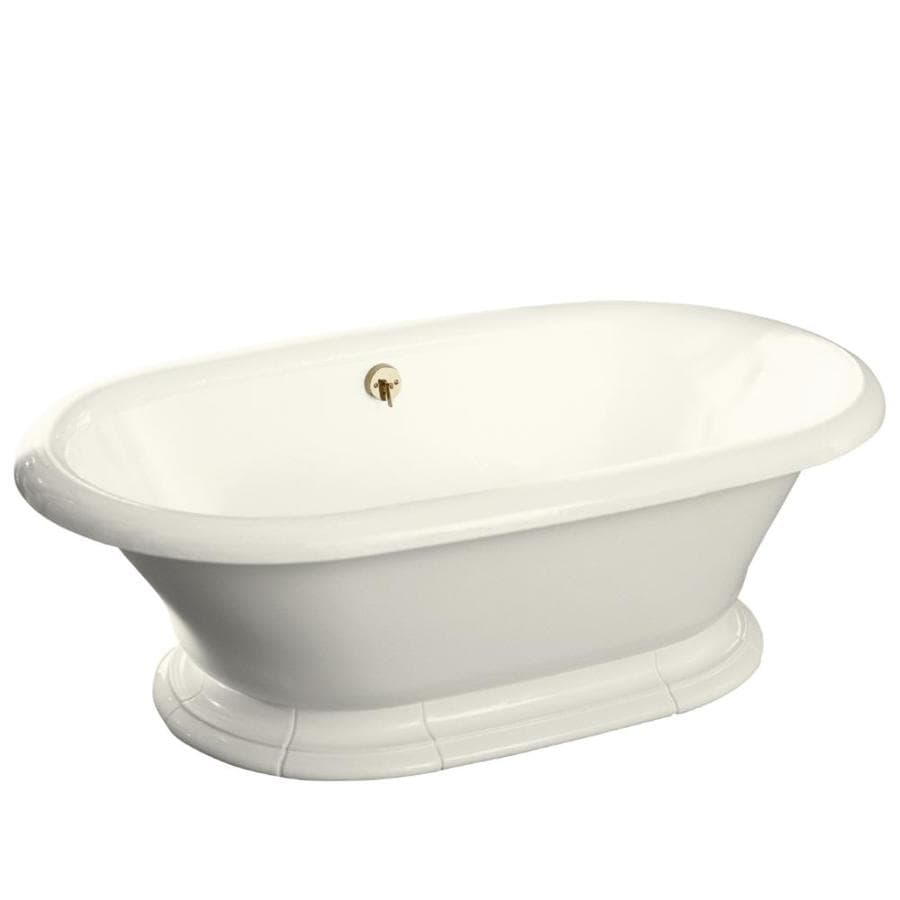 KOHLER Vintage 72-in Biscuit Cast Iron Pedestal Bathtub with Back Center Drain