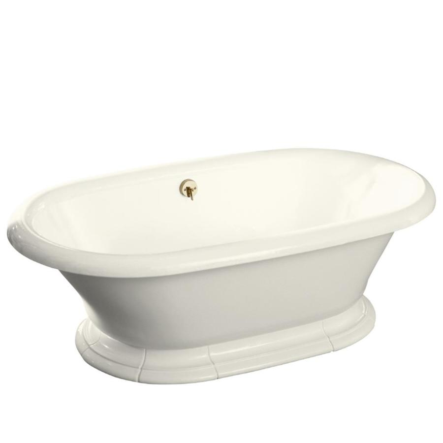 KOHLER Vintage Biscuit Cast Iron Oval Pedestal Bathtub with Back Center Drain (Common: 42-in x 72-in; Actual: 21.19-in x 42-in x 72-in)
