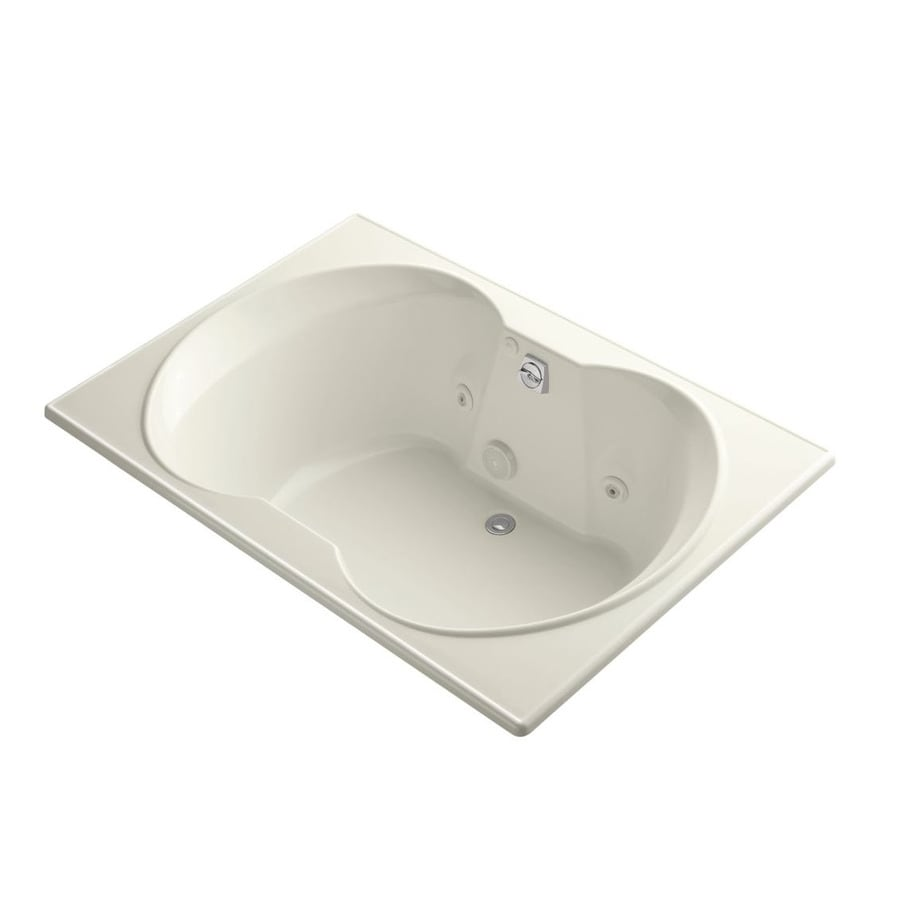 KOHLER Overture 60-in Biscuit Acrylic Drop-In Whirlpool Tub with Front Center Drain