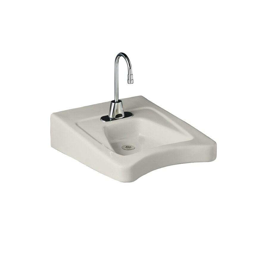 KOHLER Morningside Biscuit Wall-Mount Rectangular Bathroom Sink with Overflow