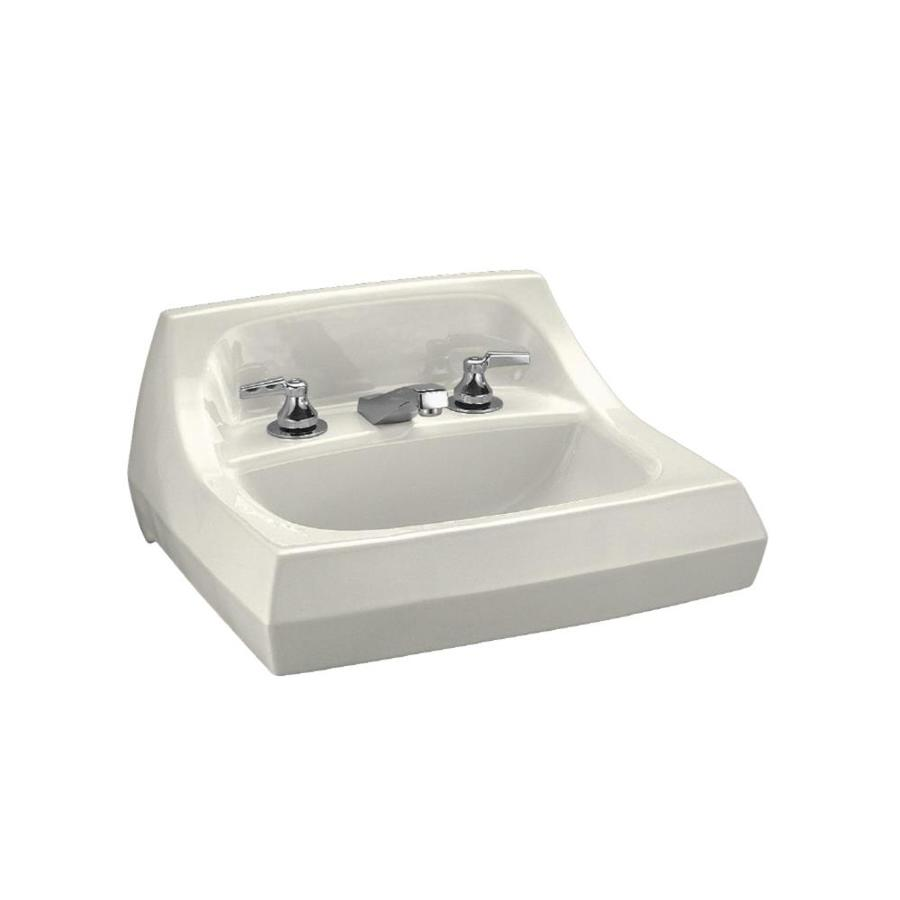 KOHLER Kingston Biscuit Wall-Mount Rectangular Bathroom Sink with Overflow