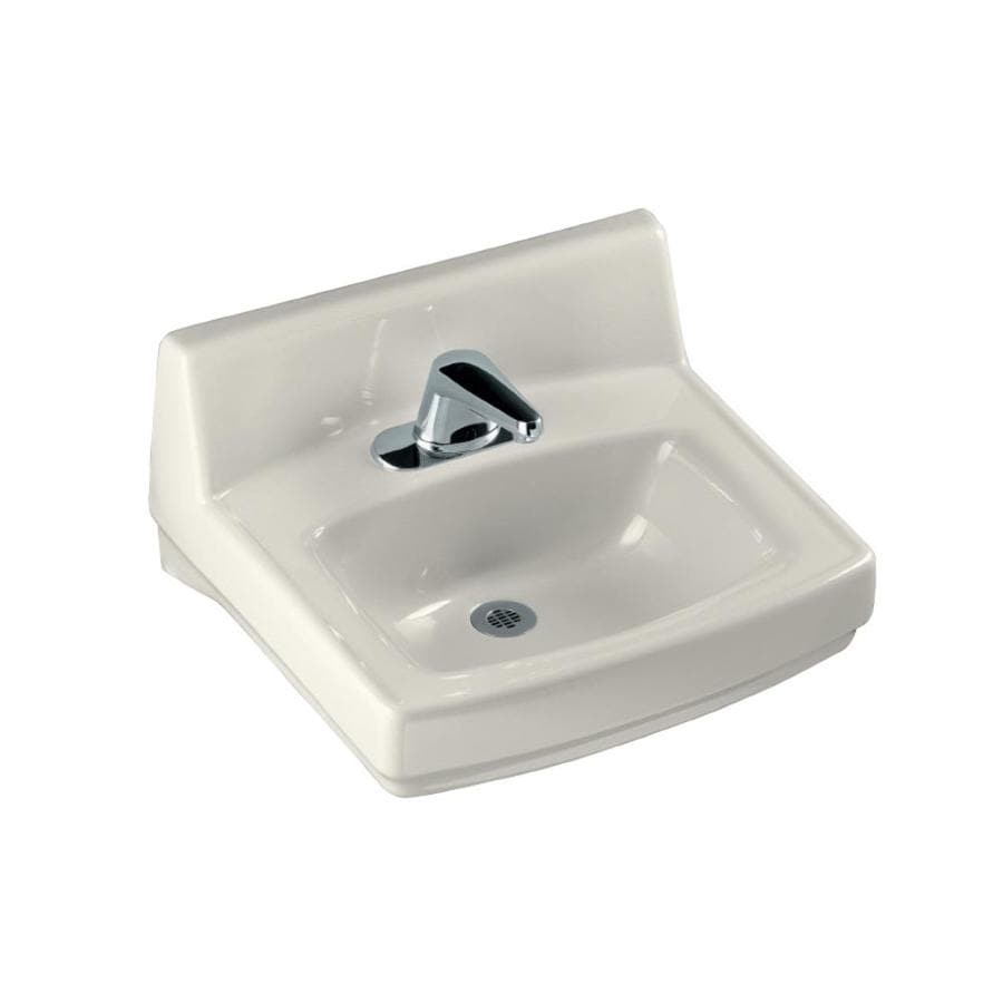 kohler wall mount bathroom sink shop kohler greenwich biscuit wall mount rectangular 23590