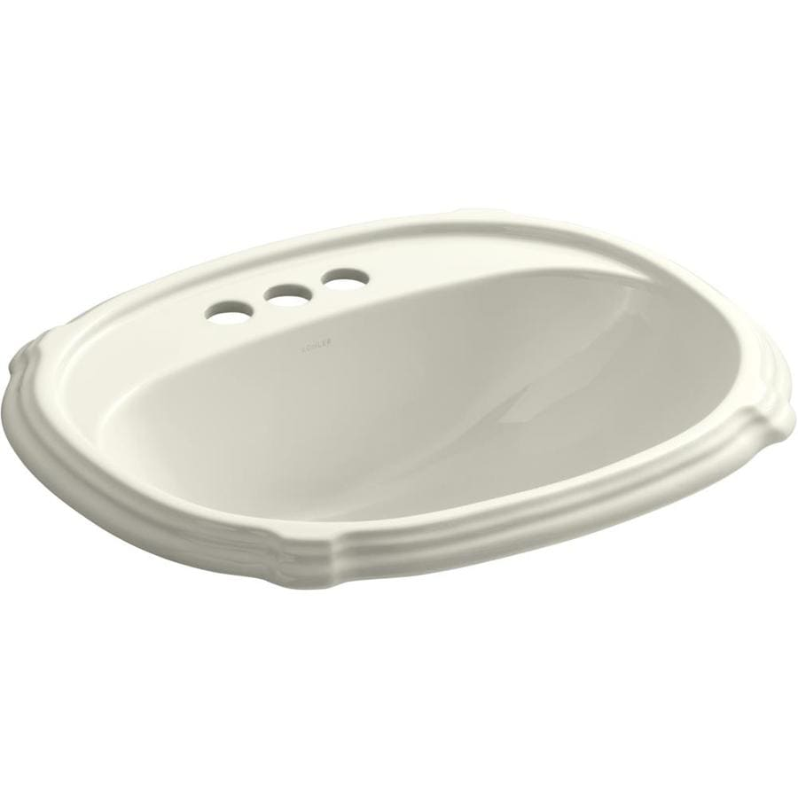 shop kohler portrait biscuit drop in oval bathroom sink with overflow at