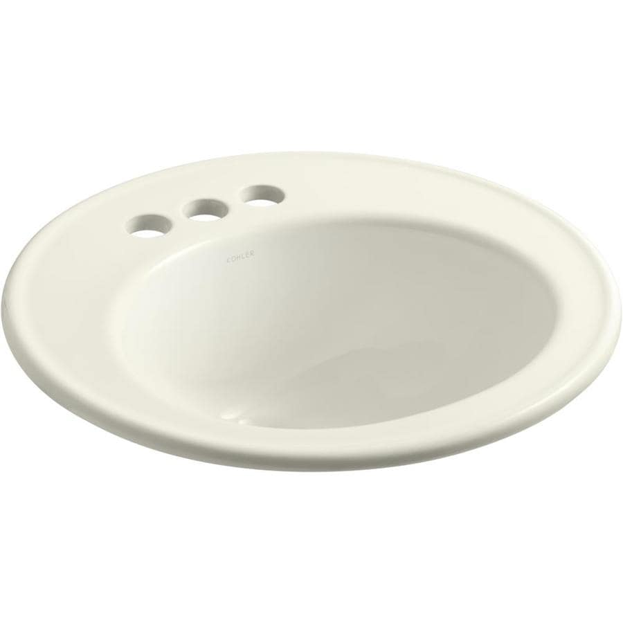 KOHLER Brookline Biscuit Drop-in Round Bathroom Sink with Overflow
