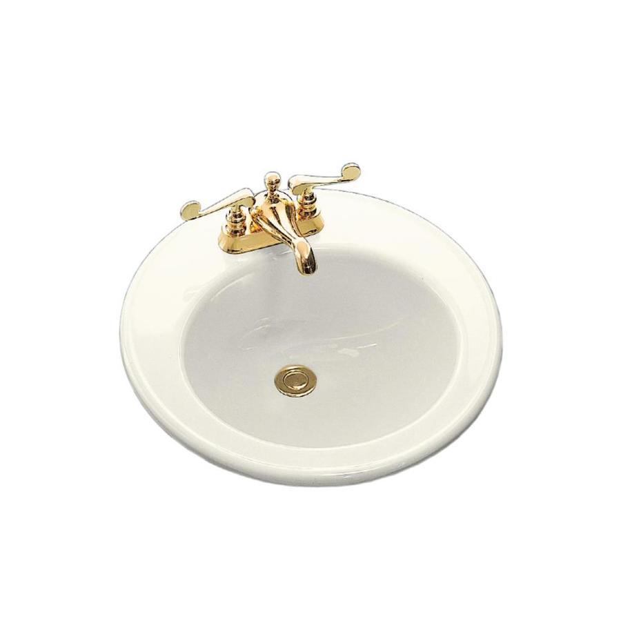 KOHLER Brookline Biscuit Drop-in Round Bathroom Sink with Overflow