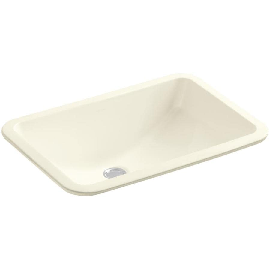 KOHLER Ladena Biscuit Undermount Rectangular Bathroom Sink with Overflow