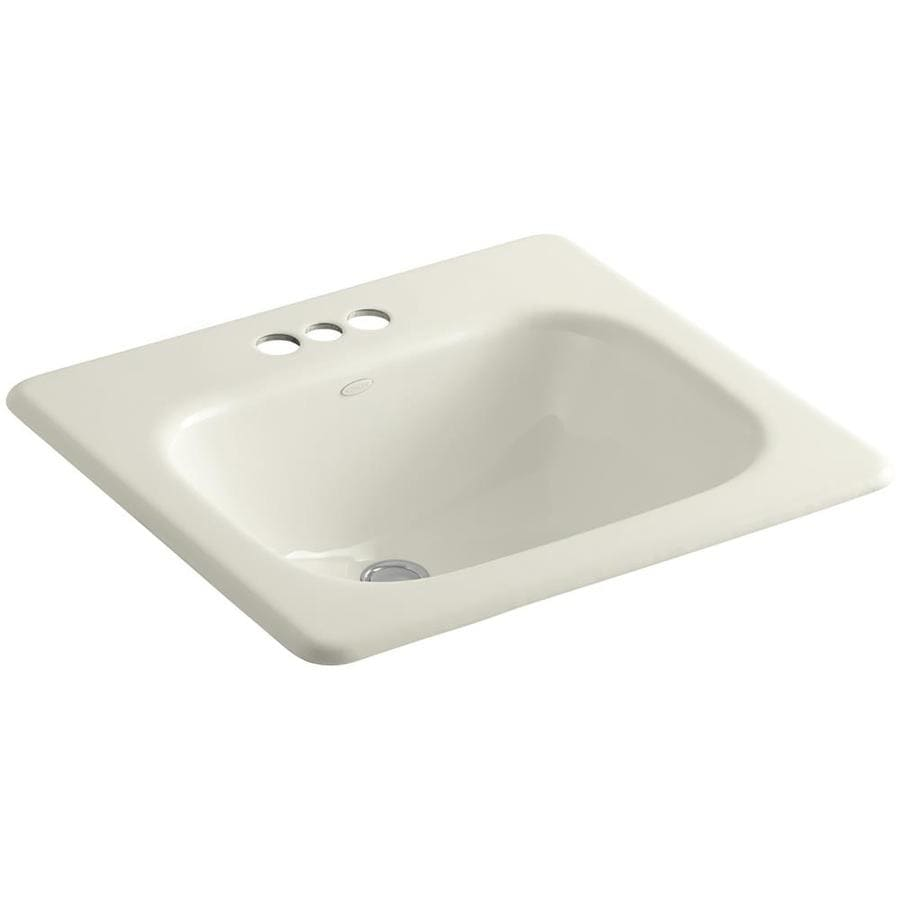 KOHLER Tahoe Biscuit Cast Iron Drop-in Round Bathroom Sink with Overflow