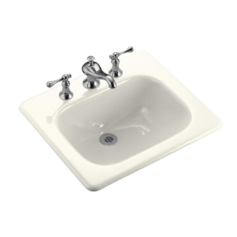 kohler cast iron bathroom sink shop kohler tahoe biscuit cast iron drop in rectangular 23584