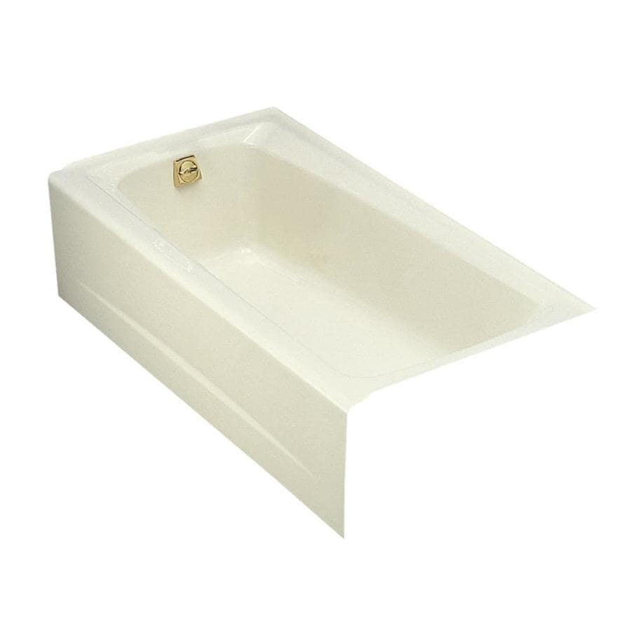KOHLER Mendota Biscuit Cast Iron Rectangular Skirted Bathtub with Left-Hand Drain (Common: 32-in x 60-in; Actual: 16.25-in x 32-in x 60-in)