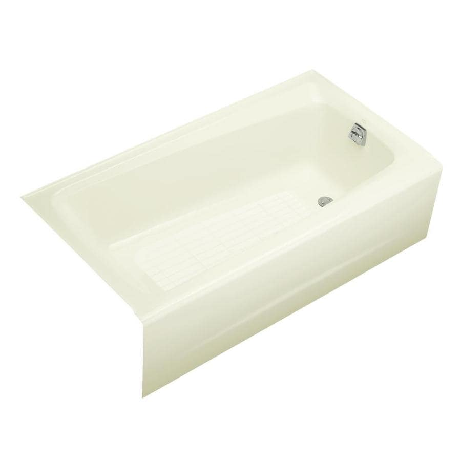KOHLER Mendota Biscuit Cast Iron Rectangular Skirted Bathtub with Right-Hand Drain (Common: 32-in x 60-in; Actual: 16.25-in x 32-in x 60-in)