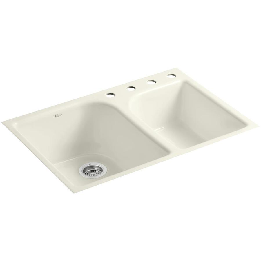KOHLER Executive Chef 22-in x 33-in Biscuit Single-Basin-Basin Cast Iron Tile-in 4-Hole Residential Kitchen Sink