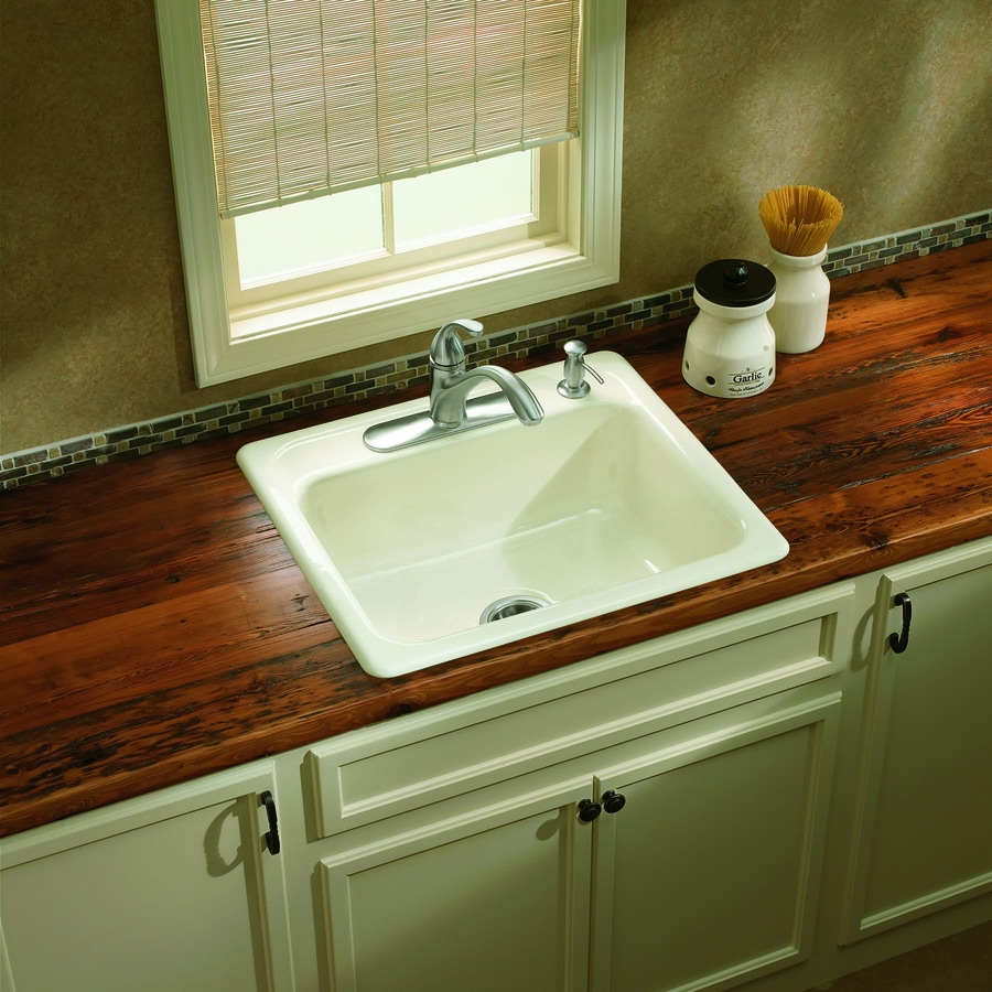 25 inch kitchen sinks biscuit color shop kohler 22 in x for Coloured sinks kitchens