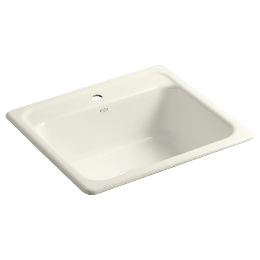 KOHLER Mayfield 22-in x 25-in Biscuit Single-Basin Cast Iron Drop-in 1-Hole Residential Kitchen Sink