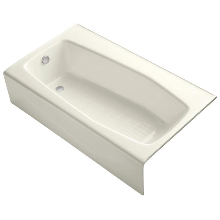 KOHLER Villager Biscuit Cast Iron Hourglass In Rectangle Alcove Bathtub with Left-Hand Drain (Common: 34-in x 60-in; Actual: 14-in x 34.25-in x 60-in)