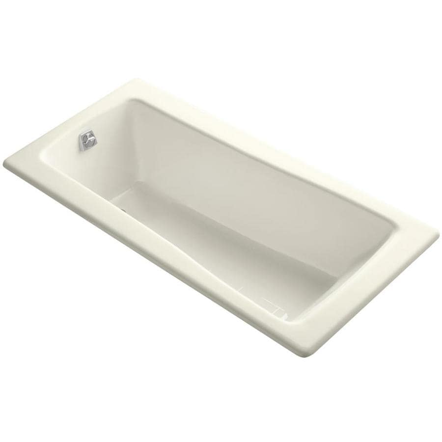 shop kohler maestro biscuit cast iron rectangular drop in bathtub with