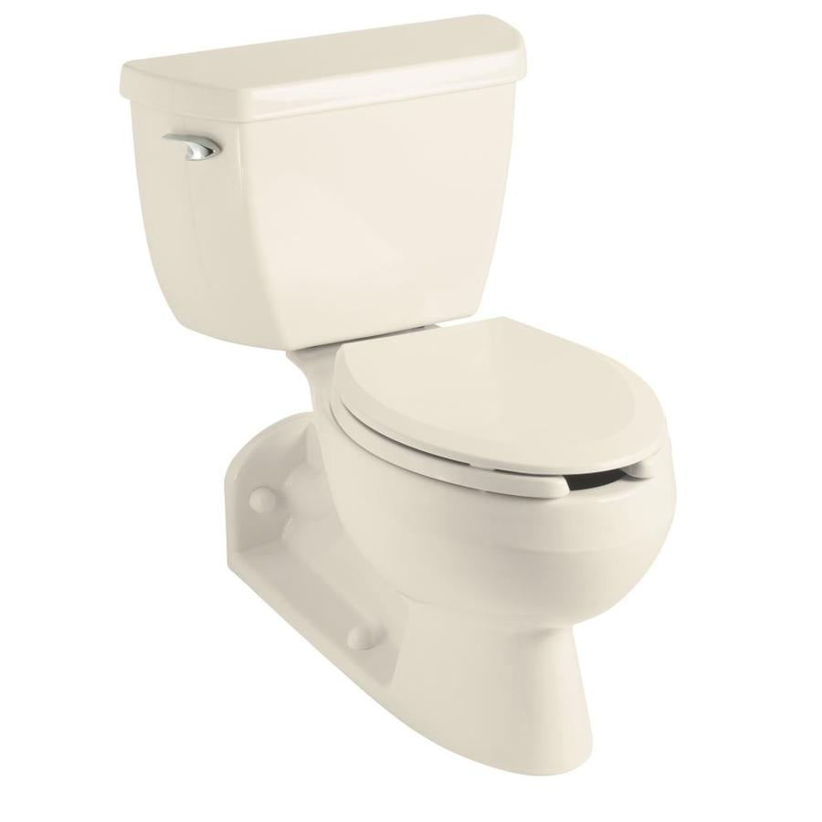 KOHLER Barrington Standard Height Almond 4-1/2-in Rough-In Pressure Assist Elongated Toilet Bowl