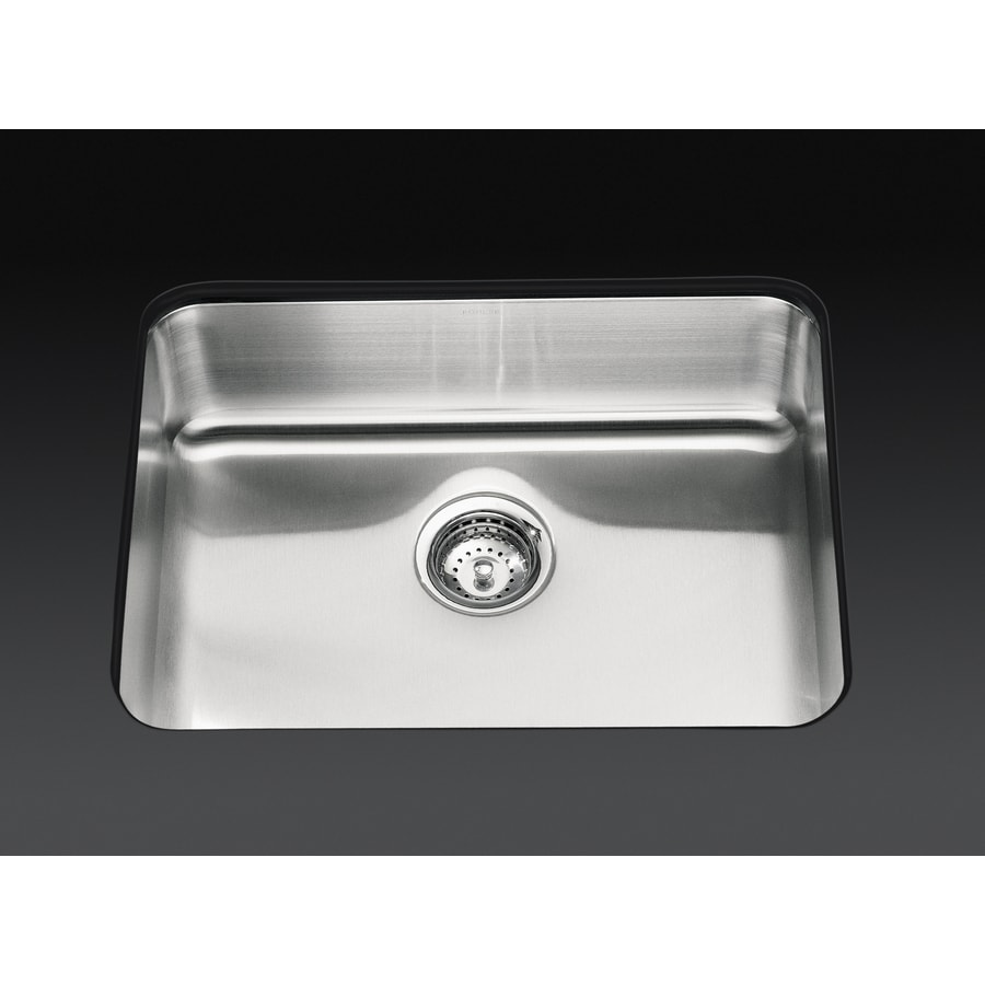 KOHLER Undertone 17.5-in x 15.75-in Stainless Steel Single-Basin Undermount Residential Kitchen Sink