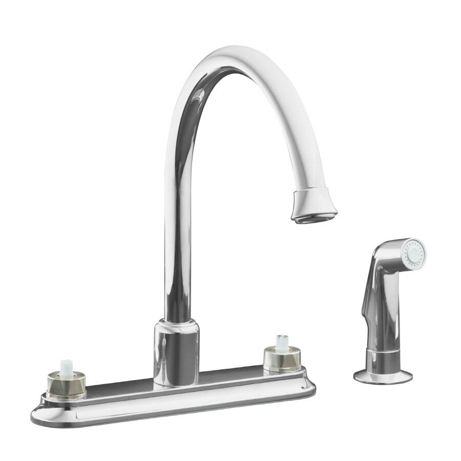 Shop Kohler Coralais Polished Chrome 2 Handle High Arc Kitchen Faucet At