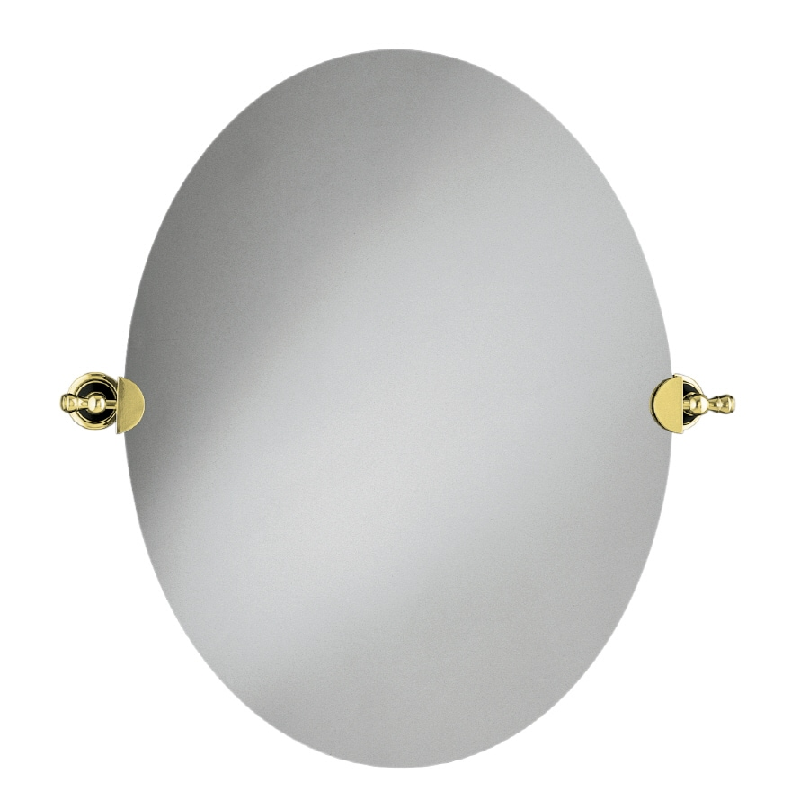 KOHLER Revival 26.125-in W x 28.5-in H Oval Tilting Frameless Bathroom Mirror with Vibrant Polished Brass Hardware and Polished Edges