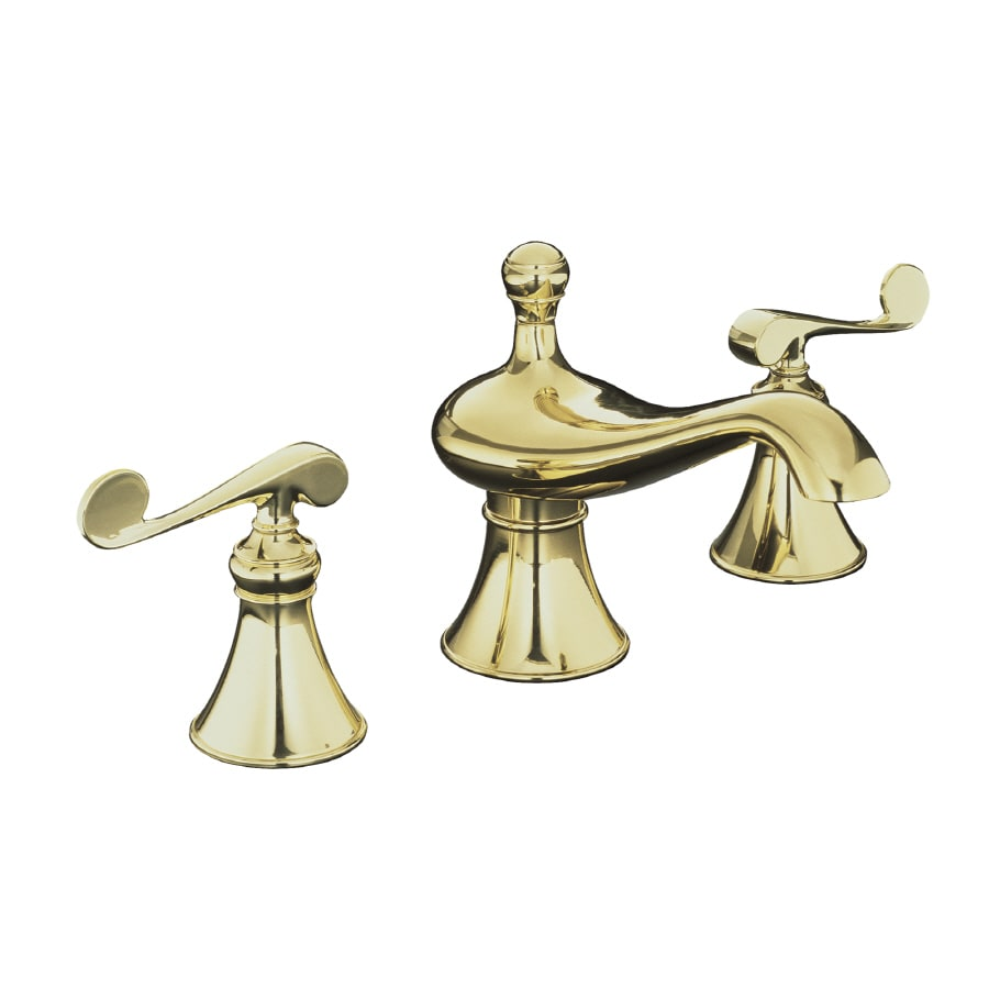 KOHLER Revival Vibrant Polished Brass 2-Handle Widespread WaterSense Bathroom Faucet (Drain Included)