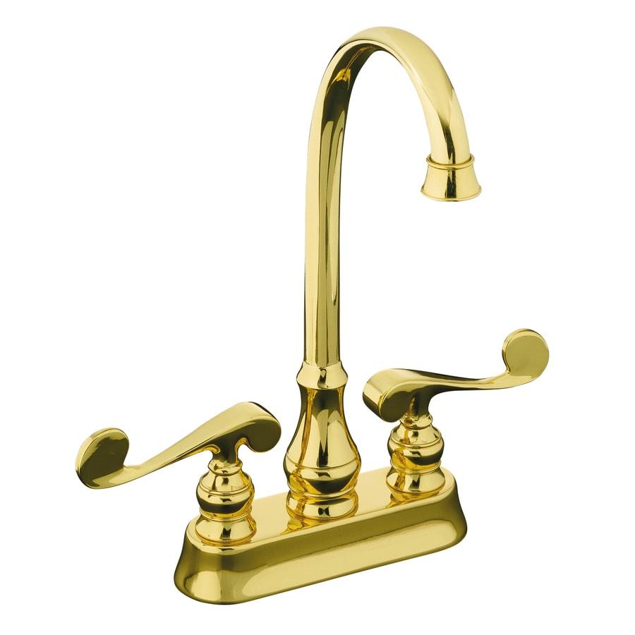Kohler Brass Faucet : KOHLER Revival Vibrant Polished Brass 2-Handle-Handle Bar and Prep ...