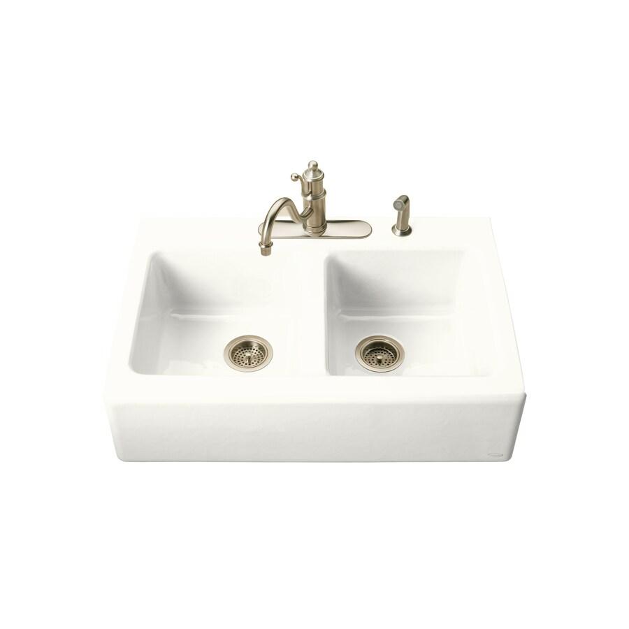 KOHLER Hawthorne 22.12-in x 33-in White Double-Basin Cast Iron Tile-in Residential Kitchen Sink