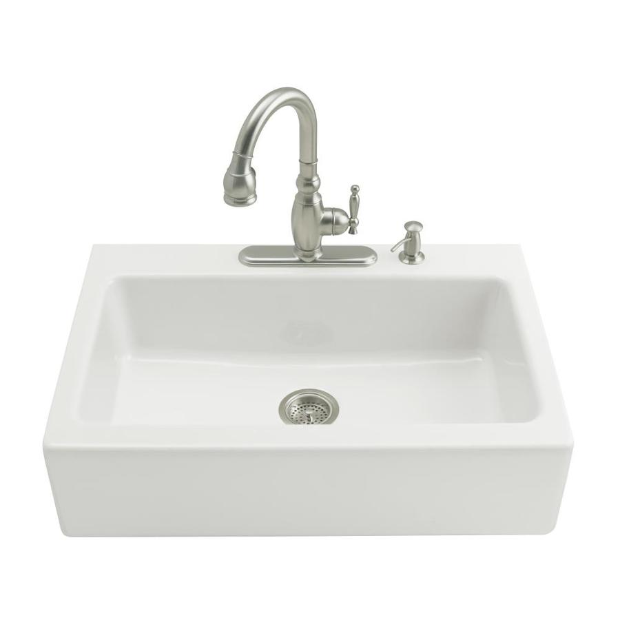KOHLER Dickinson 22.12-in x 33-in White Single-Basin Cast Iron Tile-in Residential Kitchen Sink