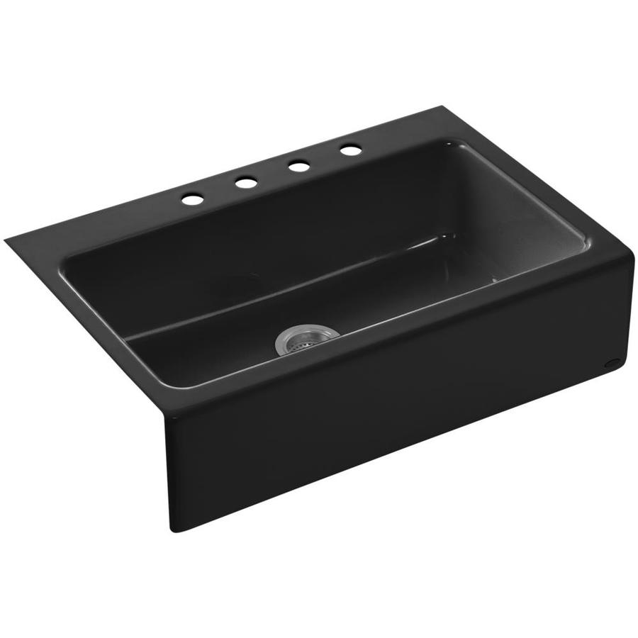 Shop kohler dickinson x 33 in black black single basin cast iron tile in residential - Cast iron sink weight ...