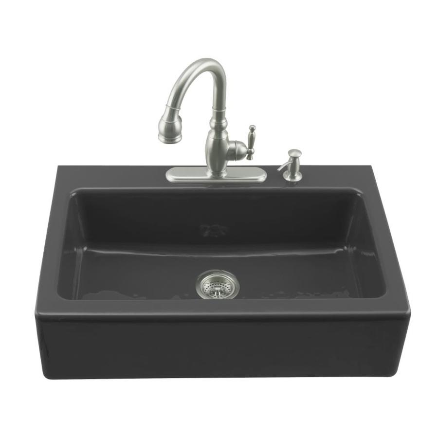 Shop kohler dickinson x 33 in black black single - Cast iron kitchen sink manufacturers ...