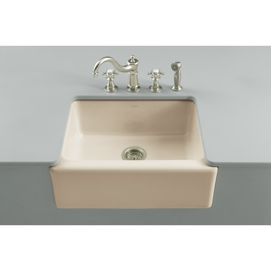 KOHLER Alcott 22-in x 25-in Almond Single-Basin-Basin Fireclay Apron Front/Farmhouse (Customizable)-Hole Residential Kitchen Sink
