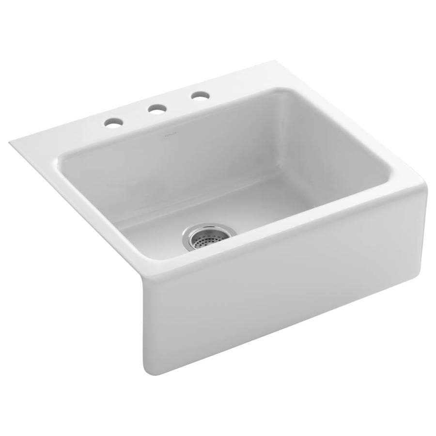 KOHLER Alcott 22.0000-in x 25.0000-in White Single-Basin Fireclay Tile-in 3-Hole Residential Kitchen Sink