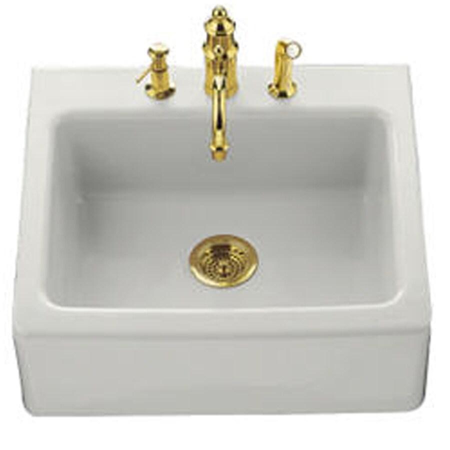 KOHLER Alcott 22-in x 25-in Almond Single-Basin Fireclay Tile-in Residential Kitchen Sink