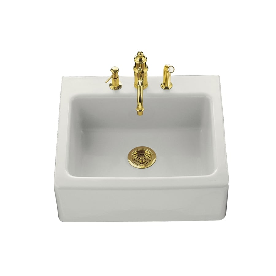 KOHLER Alcott 22-in x 25-in White Single-Basin Fireclay Tile-in Residential Kitchen Sink