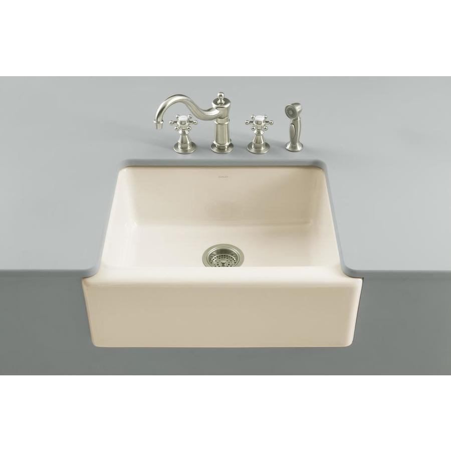 KOHLER Alcott 22-in x 25-in Biscuit Single-Basin Fireclay Apron Front/Farmhouse 5-Hole Residential Kitchen Sink