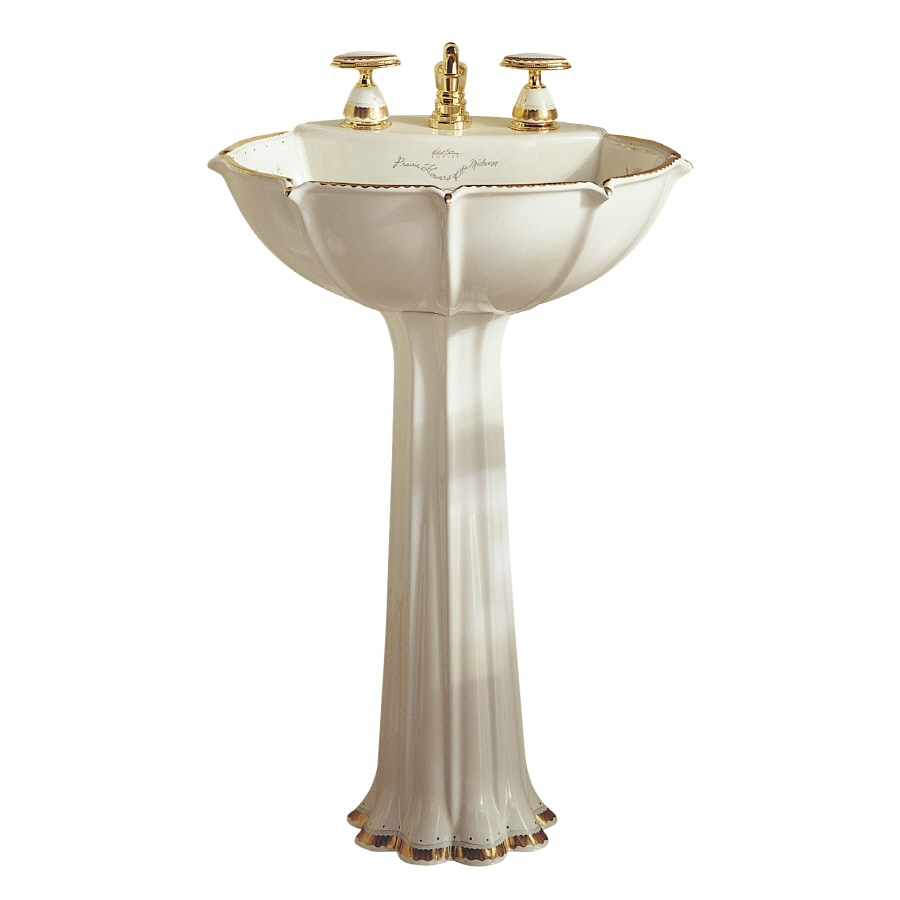 KOHLER Prairie Flowers 31.875-in H Biscuit Vitreous China Pedestal Sink